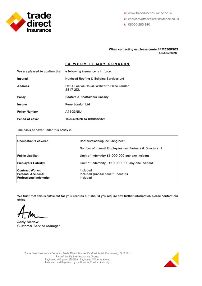 Public and Employers Liability Certificate